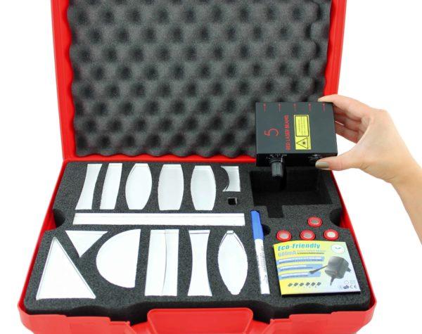 Geomeetrilise optika komplekt punase laseriga